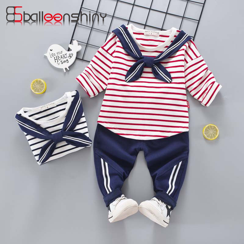 BalleenShiny Kids Clothing Set Long Sleeve T-shirt&Pants 2 PCS Cotton Striped Suit Cute Boy Girl Child Fashion Sailor Navy Style