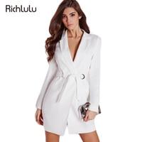 RichLuLu White Sexy Dress Women Clothing Vestidos High Waist Deep V-Neck Casual Mini Dress Female Slim Elegant Belt Blazer Dress