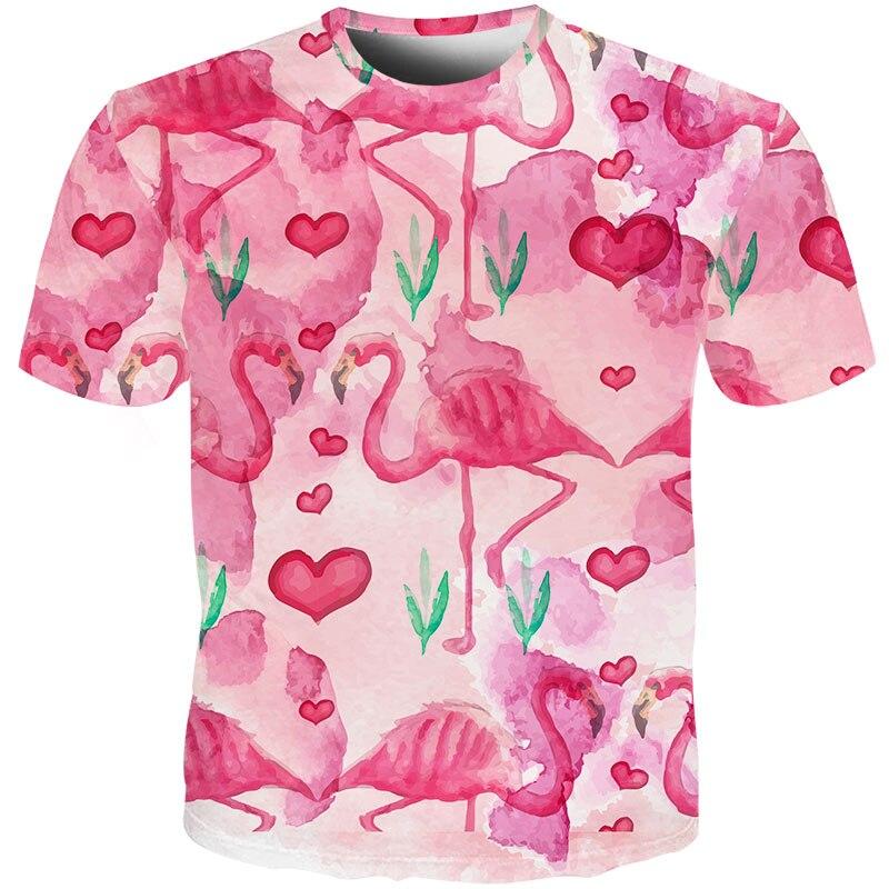 T-Shirt 3D Printed Pink Heart Flamingos Casual Tees