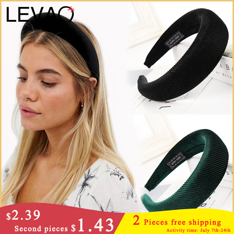 LEVAO Fashion Western Style New Solid Colors Thicken Padded Hairbands Bezel Turban Women Headbands Girls Accessories   Headwear