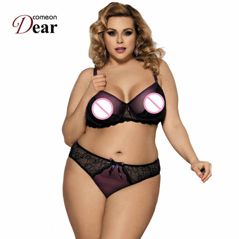 fbc7d6df6d K80273 Comeondear Womens Boudoir Girl Bra Set Naughty Purple Cute Lingerie  Set Transparent Sex Lace Embroidery