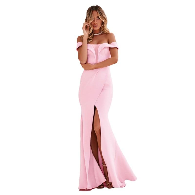 baaf2f2469d2 Zmvkgsoa Clube Mulheres Partido Maxi Vestido Feminino Vestido de Verão Fora  Do Ombro Abertura Frontal Longo