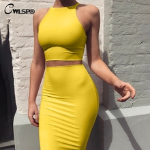 CWLSP 2018 Solid Sexy Summer Dress Two Piece Suit Crop Tops Skinny Mini Sleeveless 4 Color Vestidos Feminina Cloth QZ3070