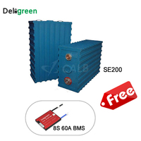 Vehicle Use Power Supply Rechargeable Li ion Battery Cells 25.6V(24V) 200ah Batteries 8pcs With 4S 12V 60A Passive BMS