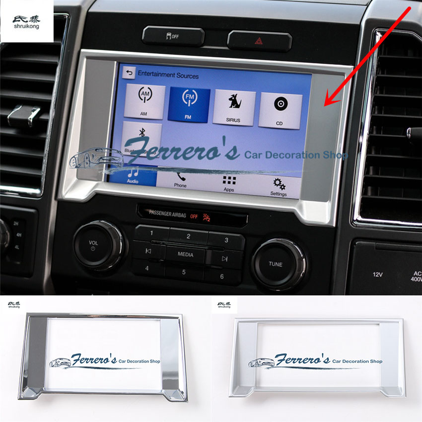 Free shipping 1pc ABS chrome car sticker Central control navigation decoration trim cover Sequins for 2015 2016 2017 Ford F150