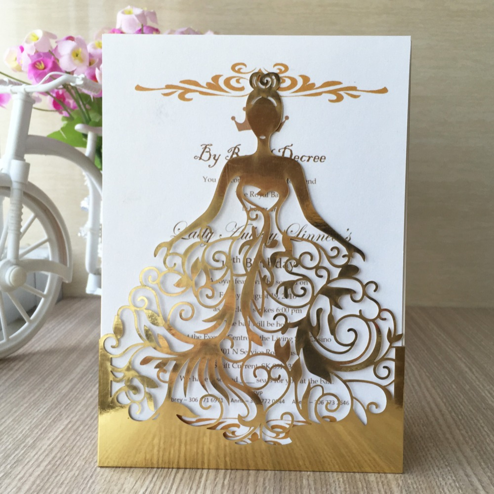 Hot sale wedding dress card metallic gold paper made of shinny hot sale wedding dress card metallic gold paper made of shinny silver card paper for business greeting and wedding invitation in cards invitations from kristyandbryce Image collections