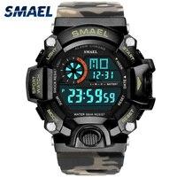SMAEL-Reloj de pulsera Digital para hombre, luminoso, LED, Camuflaje, militar, resistente al agua hasta 50m, 1385C