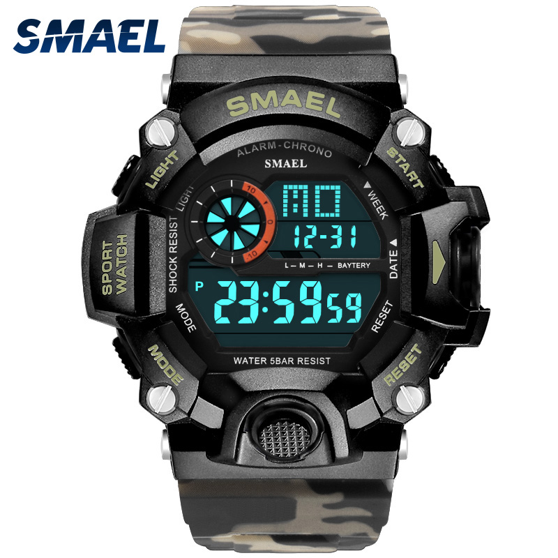 Men Watch 50m Waterproof SMAEL Top S Shock Watch Men LED Sport Watches Camouflage Watch Band 1385C Digital Wristwatches Military