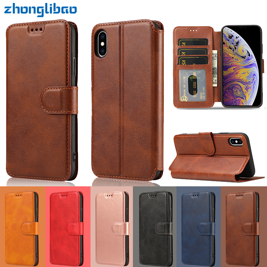 Luxury Retro Leather Flip Case for Iphone 8 7 6 6s Plus 5 5s Se Card Holder Wallet Stand Phone Cover for Iphone Xs Max Xr X Etui