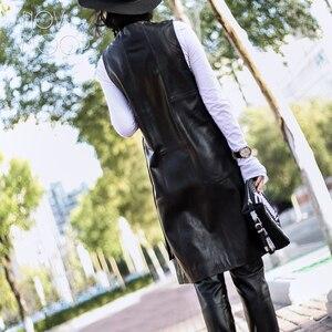 Image 3 - High street Black genuine leather vest real lambskin leather long trench coat veste femme chalecos mujer colete gilet LT1905