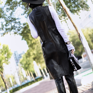 Image 3 - High street Nero genuino giubbotto di pelle vera pelle di agnello in pelle lungo cappotto di trincea femme veste chalecos mujer colete gilet LT1905