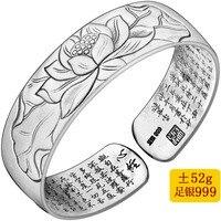 2019 Armbanden voor vrouwen Fine 999 браслет с символом сутры буддизм Писание женские ручные кольца ширина Ретро стерлинговые браслеты