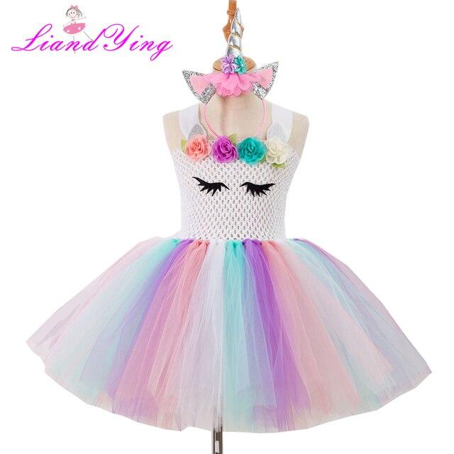 Детское Радужное платье-пачка для девочек; детское платье принцессы для дня рождения; Карнавальный костюм для девочек на Рождество и Хэллоуин с повязкой на голову
