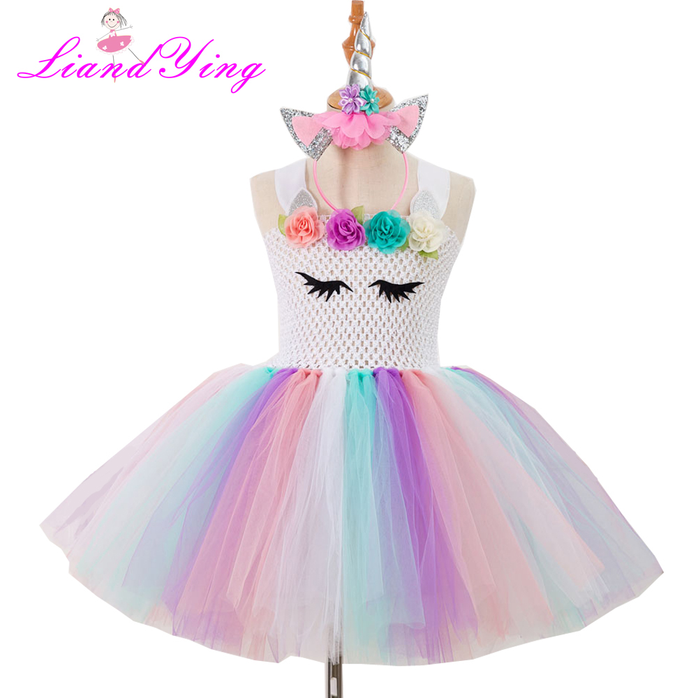 Children Girls Rainbow Tutu Dress Princess Kids Birthday Party Dress Girls Christmas Halloween Cosplay Costume With Headband girls catwoman cosplay for kids christmas party performance halloween costume cute kids girls cat kitty princess dress with hair