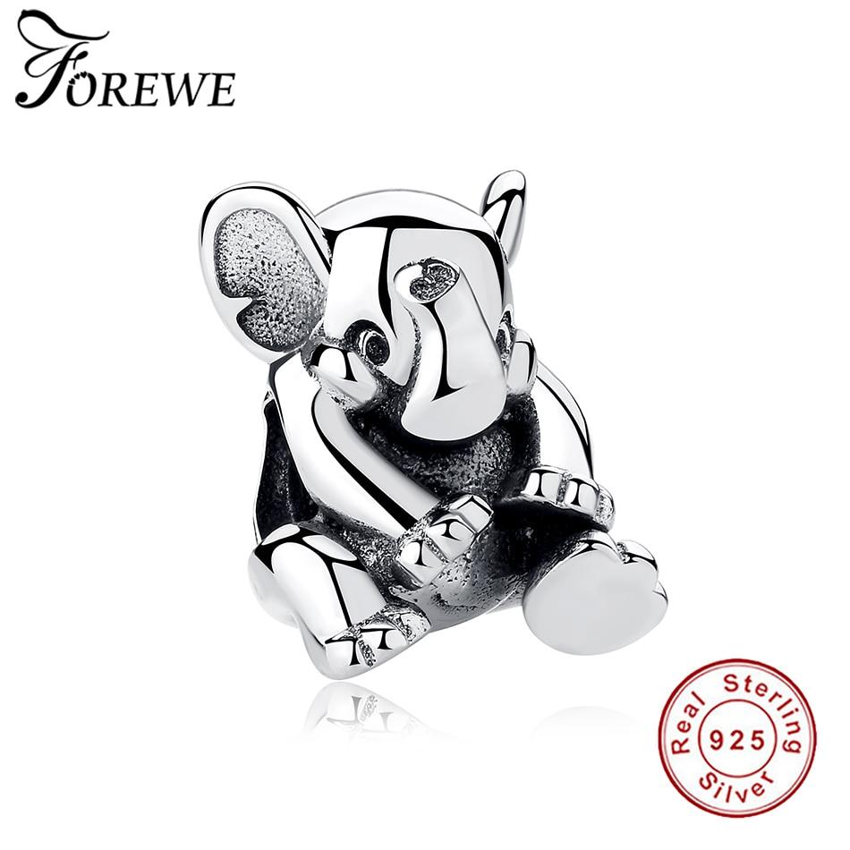 Fit Original Pandora Charm Bracelets Cute 925 Sterling Silver Animal Elephant Charm for Women Children Kids Birthday Party Gift