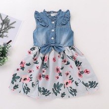 Summer Girls Dress Autumn Baby Girl Clothes Sleeveless Denim Floral Dress Casual Sundress with Bow Design Outfits denim dress for girl kids baby girls jean denim bow flower ruffled summer dress sundress costume 2 6y