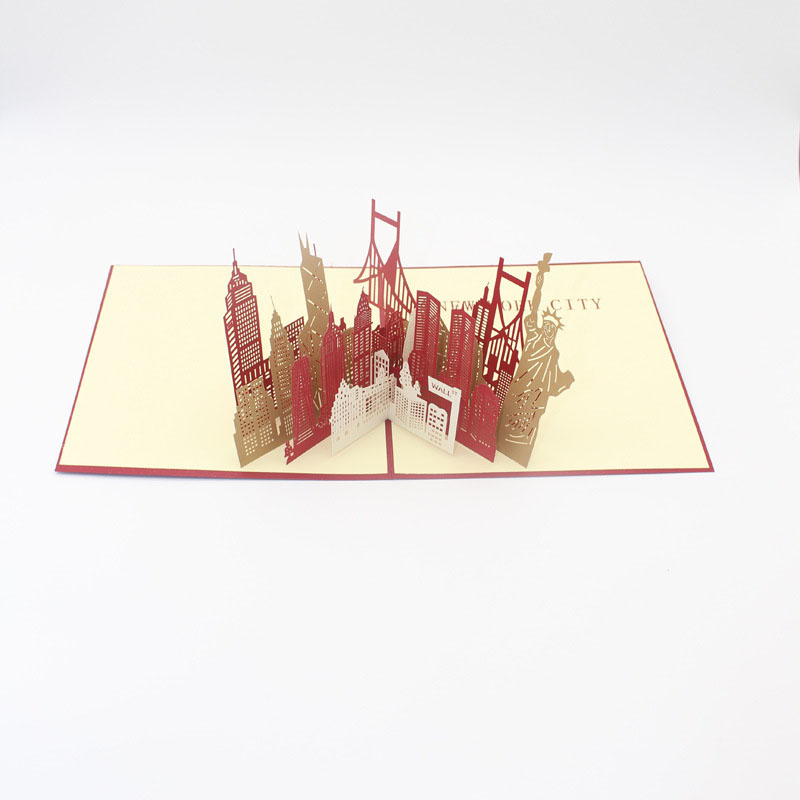 3D Laser Cut Handmade New York Scenery Silhouette Paper Invitation ...