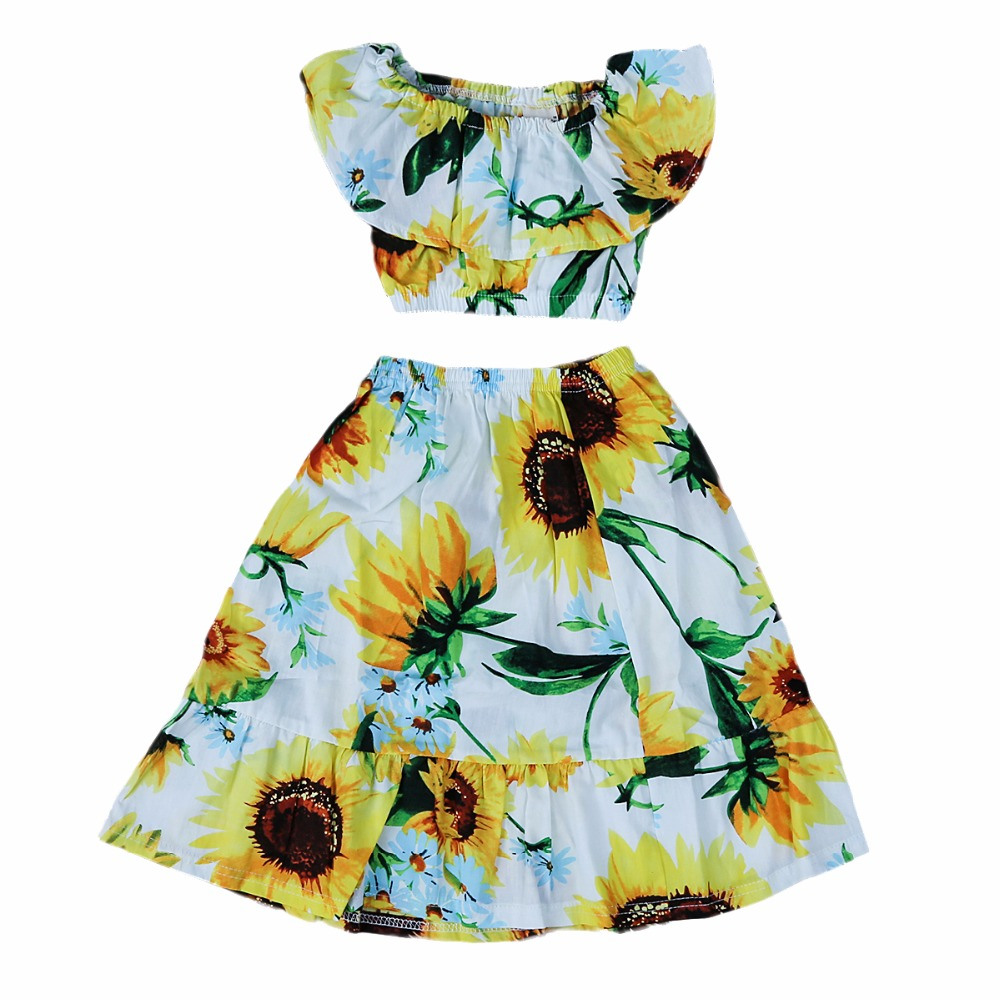 3c02793e41 Puseky 1 6Y 2pcs/set Baby Girl Sunflower Boat Neck Crop Top+Skirt ...