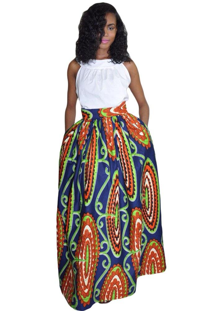 fashion high waist colorful floral print navy maxi