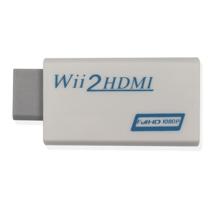 Vit WiitoHDMI Wii2HDMI Adapter Converter Full HD 1080P Utgång + 3,5 mm Audio Box Gratis frakt