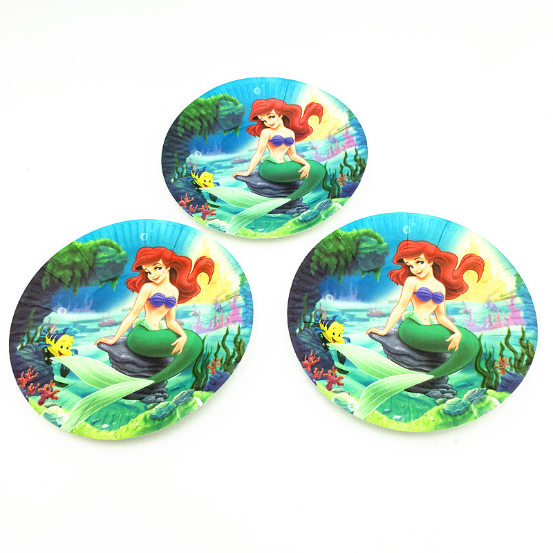 10pcs/lot mermaid dishes plates baby shower cartoon mermaid party supplies kids birthday party decoration Mickey mermaid  plates