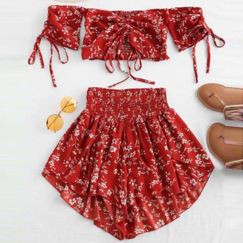 Off Shoulder Cinched Floral Women Set Summer Slash Neck Short Sleeves Crop Top High Waist Shorts Set Beach Boho Suits