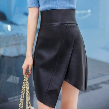2018 Autumn and Winter New Leather Sheepskin High Waist Irregular Skirt