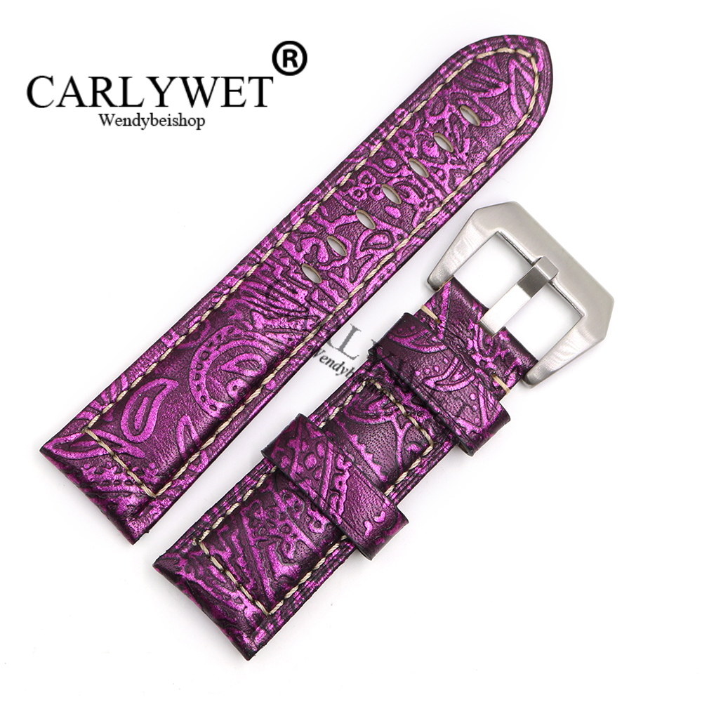 CARLYWET 22 24 26mm Wholesale Purple Pattern Real Leather Wrist Watch Band Strap Bracelet With Silver Brushed Pre V Screw Buckle