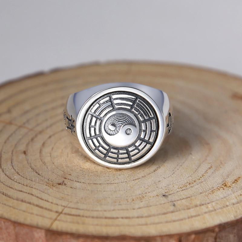 925 sterling silver jewelry fashion personality male silver ring retro Taoist Tai Chi Bagua fingerring male adolescents personality