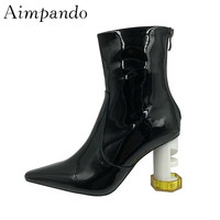 Individual Geometrical Strange Ankle Boots Women Square Toe Patent Leather T stage High Heel Short Boots Woman
