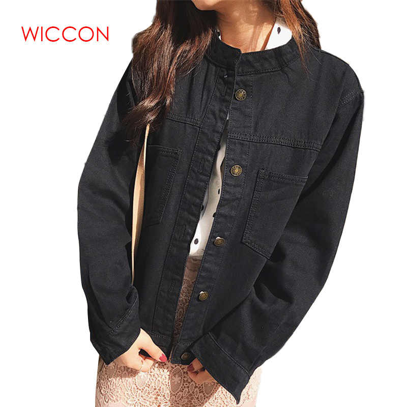 Wanita Denim Jaket Bf Longgar Lengan Panjang Kasual Saku Jaket Jeans Musim Gugur Korea Pakaian Luar & Mantel