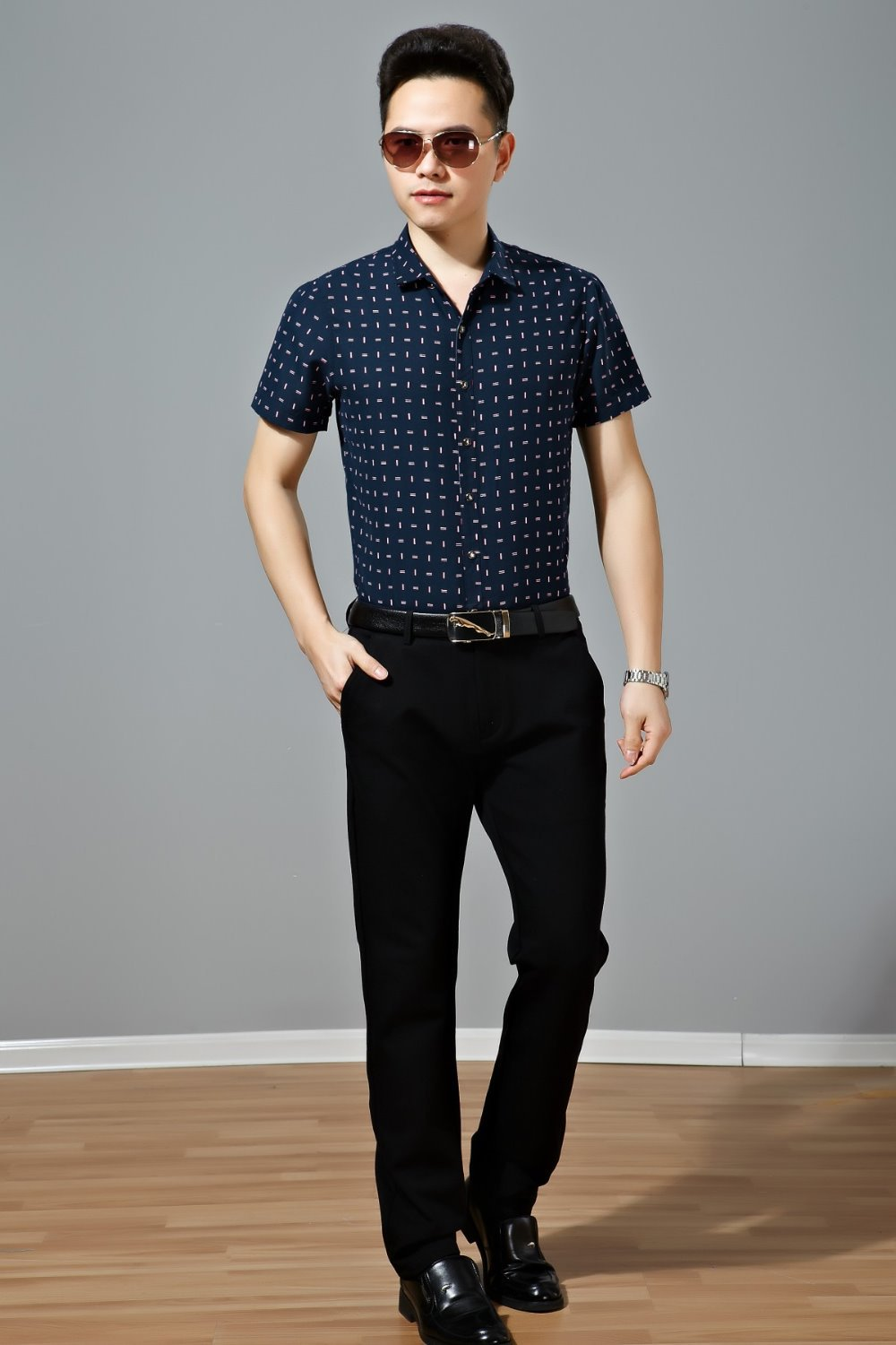 Traditional 100 Conton Summer Business Casual Wear Men Short Sleeve Shirt High Quality Polka Dot Y In Dress Shirts From S Clothing