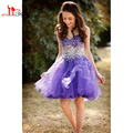 2017 New Design Homecoming Dresses Purple Beads Crystals Rhinestone Organza Mini Short Lovely Short Prom Cocktail Party Gowns