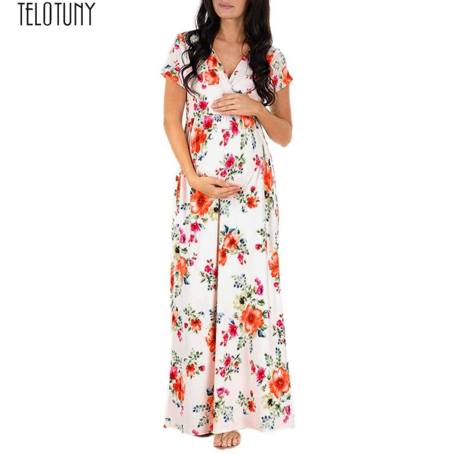 TELOTUNY maternity gown Pregnant Womens Nursing Pregnancy Dress Floral Printing Maternity Long Dress  Z0829 Платье