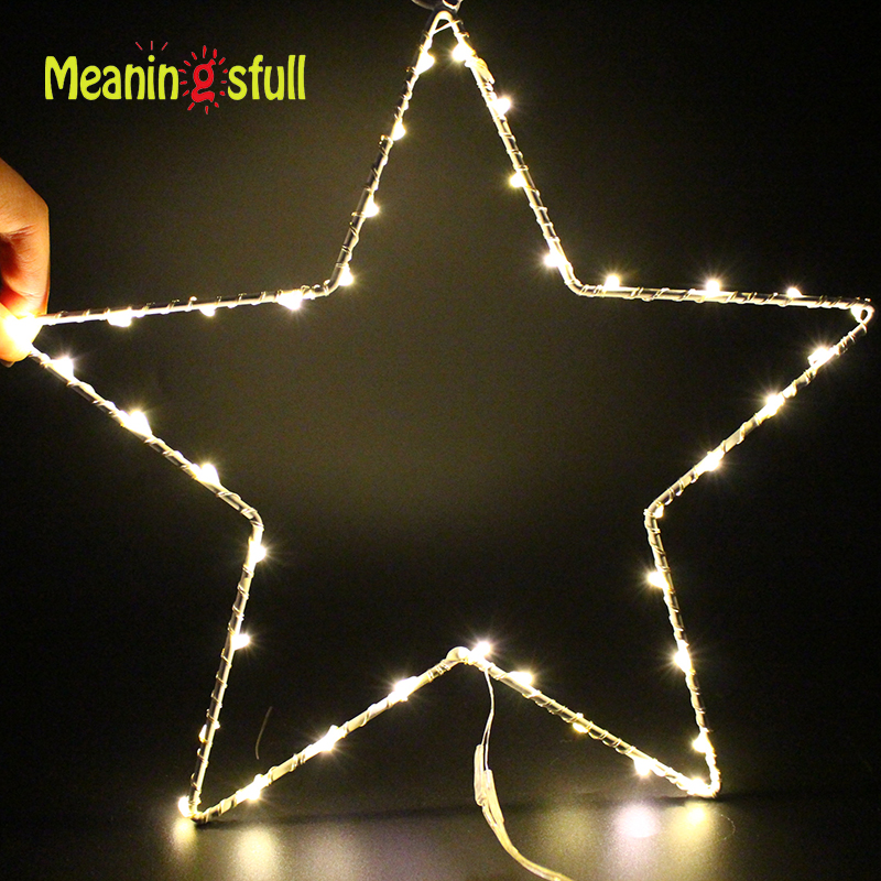 Warm White Christmas Lights 2XAA Battery Fairy Star Led String Lights For Party Wedding  ...