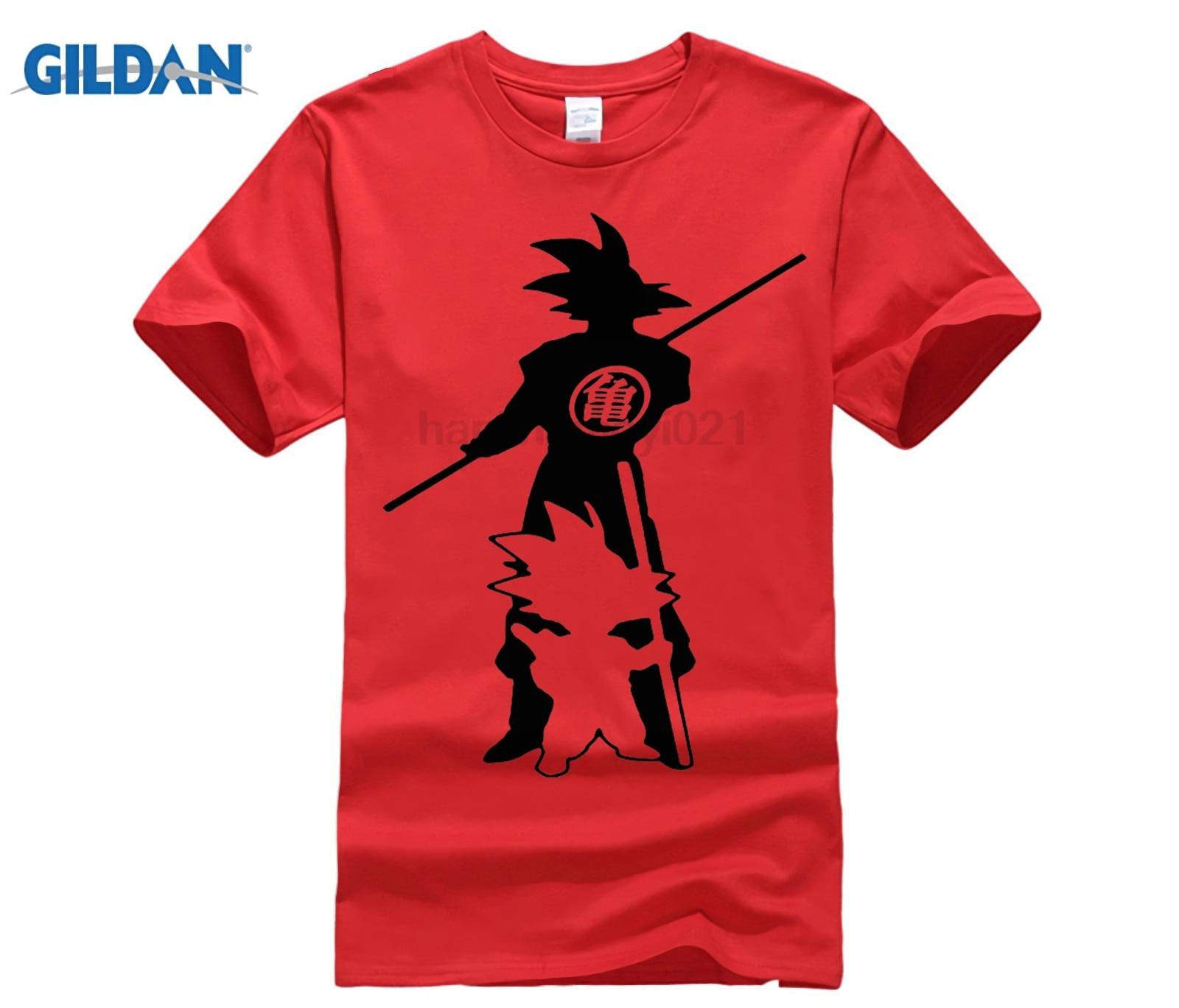 GILDAN Japan anime Dragon Ball Z printing T Shirt Saiyan funny men Son Goku Tees Tops Men Clothes Plus size
