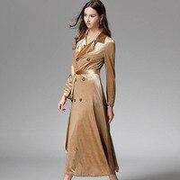 2019 Spring Autumn Women Trench Coat Elegant Gold Velvet Double Breasted Long Windbreaker Lace Up Coat Outerwear LP473