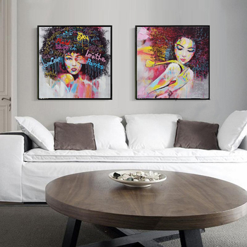 New 2 Pieces Graffti Street Wall Art Abstract Modern Women Portrait Canvas Oil Painting Set HandPainted For Living Room
