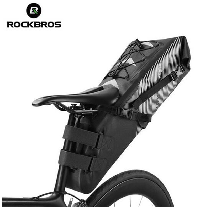 Rockbros MTB Road Bike Bag Large Capacity Waterproof Bicycle Bag Cycling Rear Seat Saddle Bag Bike Accessories rockbros large capacity bicycle camera bag rainproof cycling mtb mountain road bike rear seat travel rack bag bag accessories