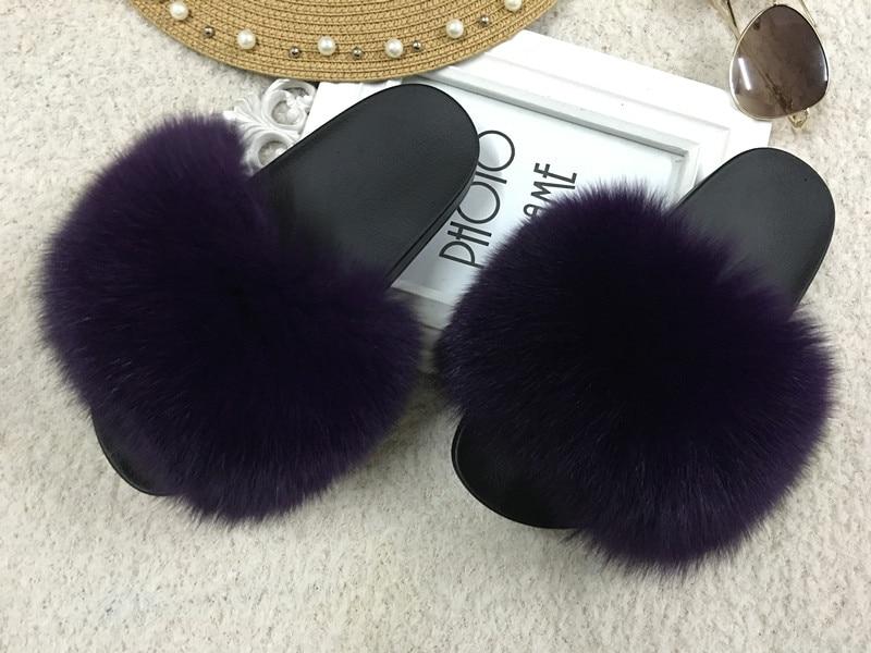 2935d88f5 2018 hot Sale Women Fur Slippers Luxury Real Fox Fur Beach Sandal Shoes  Fluffy Comfy Furry