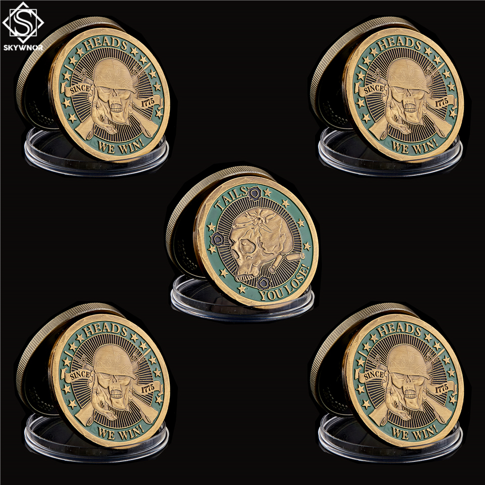 5PCS American Revolutionary War Since 1775 Heads We Win Tails You Lose Skull Souvenir Challenge Medallion Token Coin