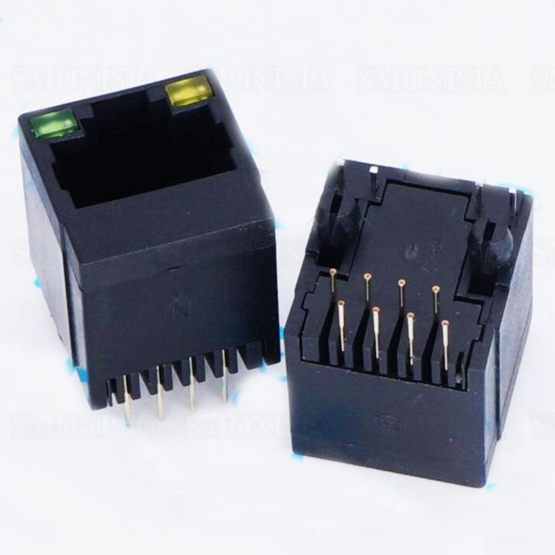 RJ45 Network Female Socket Vertical With Light 5224 All Plastic Straight Plug Connector mrj548001 [rj45 vertical]