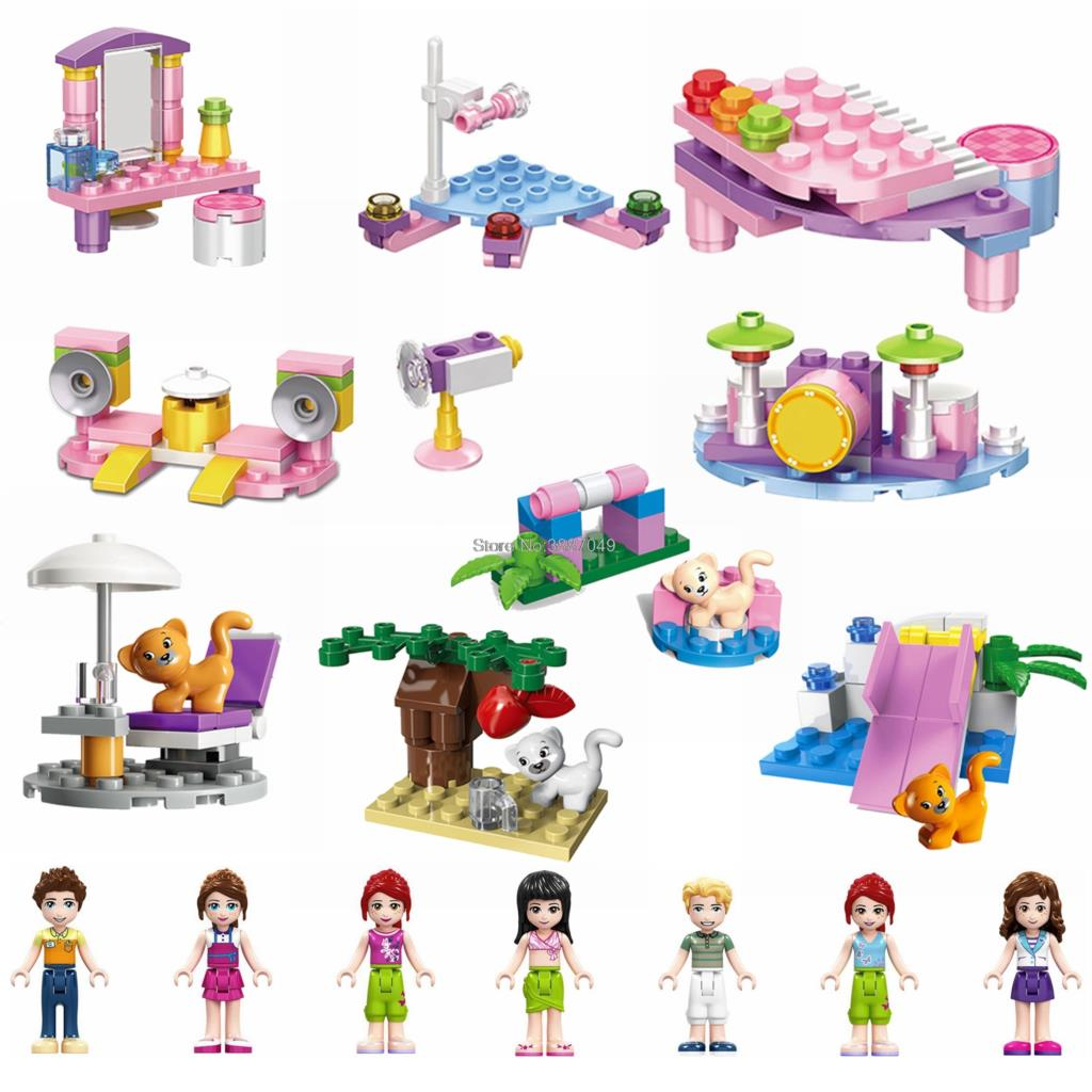 Locking Blocks Friends Princess Dog Cat Piano Drum DIY Building Blocks Toys For Children Friends Figures Girls Gifts(China)