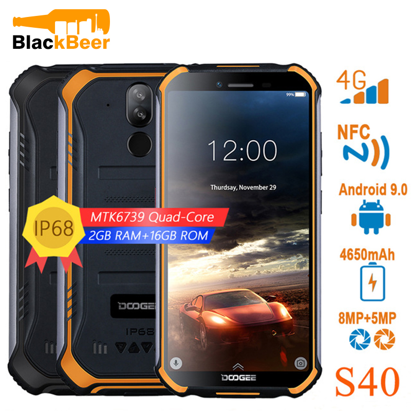 DOOGEE S40 IP68/IP69K Rugged Mobile Phone 5.5 Inch Android 9.0 Smartphone MT6739 Quad Core Cellphone 3GB 32GB ROM 4650mAh FaceID