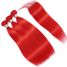 Red Color Straight Ombre Bundles With Closure With Baby Hair Brazilian Remy Human Hair Bundles With Closure Pre plucked