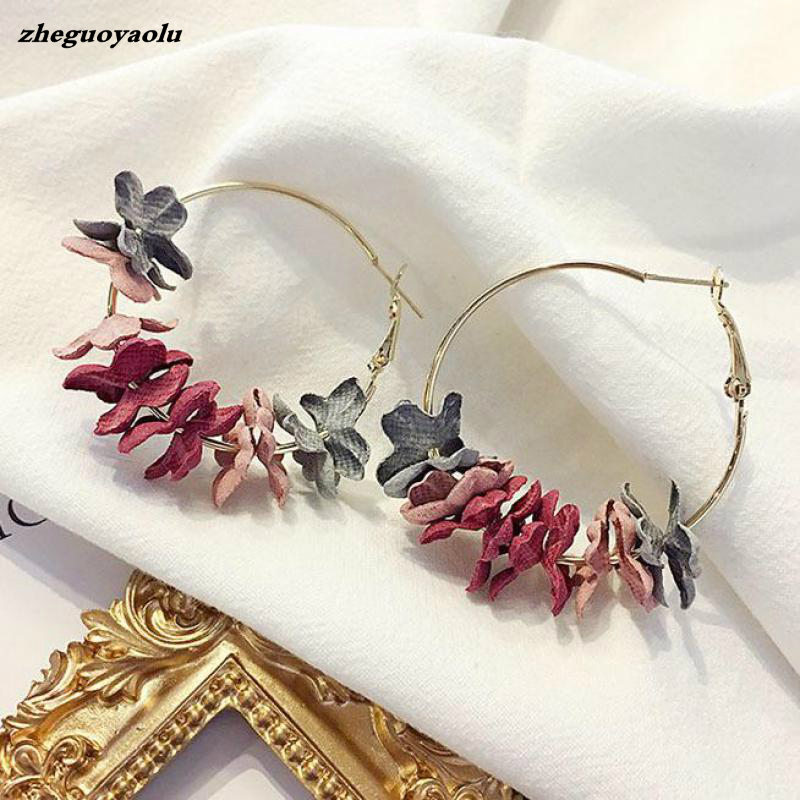 Korean Version Of The Popular Personality Fashion Temperament Jewelry Wild Net Red Cloth Flower Long Earrings Statement Earrings