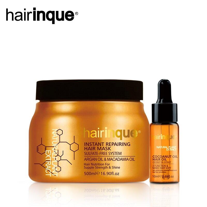 Sistema HAIRINQUE Solfato-spedizione immediata riparazione maschera per capelli olio di Argan e olio di noce di Macadamia & 10 ml Olio di Cocco Set per La Cura dei capelli