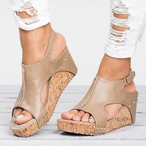 Image 3 - Women Sandals 2020 Platform Sandals Wedges Shoes For Women Heels Sandalias Mujer Summer Shoes Leather Wedge Heels Sandals 43