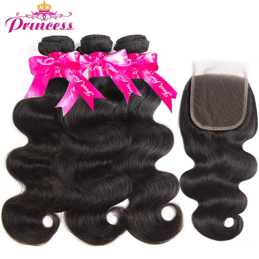 Beautiful Princess Body Wave Human Hair Bundles With Closure Double Weft Remy Brazilian Hair Weave 3 Bundles With Closure