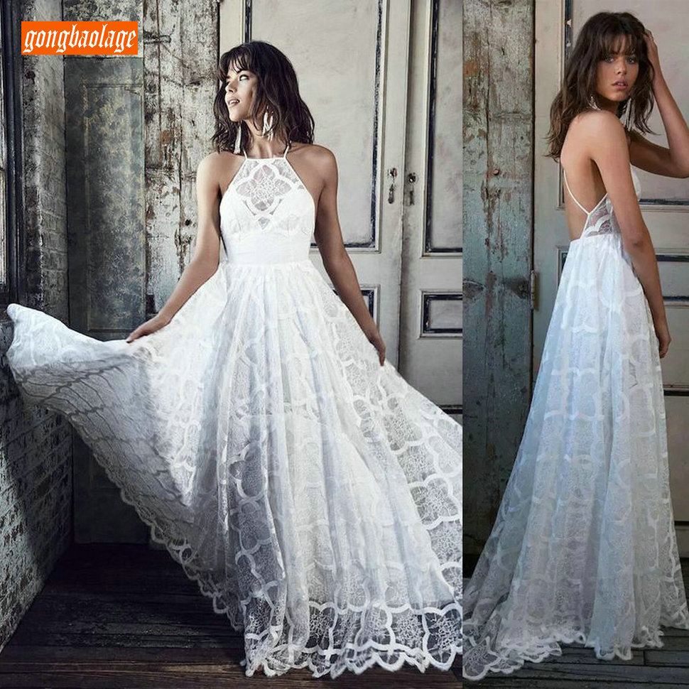 Elegant BOHO Lace Ivory Wedding Dress Long 2019 Sexy Wedding Gowns Scoop Backless Slim Fit Beach